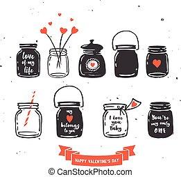 citations, amour, collection, pot, main, dessiné, maçon
