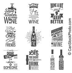 citations, ensemble, vin, typographique, vendange