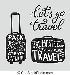 citations, voyage, inspiration, silhouette, valise