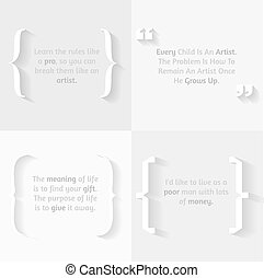 Citations, word and brackets on white background. Motivation and training