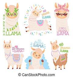 citazione, alpaca, llama., vettore, no, illustrazione, lama,...