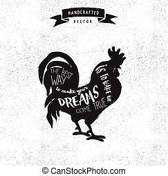 citazione, -, etichetta, disegno, vendemmia, hipster, gallo,...