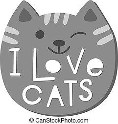 citazione, gatti, amore, camicia, lettering.