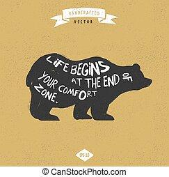 citera, -, björn, etikett, design, årgång, hipster, ...