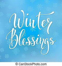 citera, välsignelser, vinter, typografi