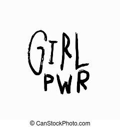 citere, pige, lettering., skjorte, magt