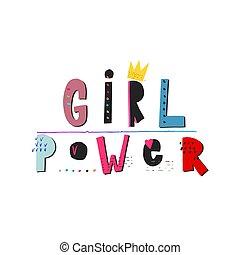 citere, pige, skjorte, magt, tekstning