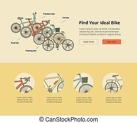 Citi bike, road bike, trekking bike, freestyle bike web banner.