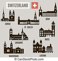 Cities in Switzerland. Silhouettes of famous buildings in...