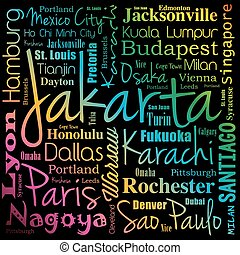 Cities in the world, word cloud collage, travel destinations...