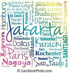 Cities in the world, word cloud