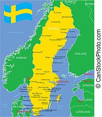 cities., landkarte, schweden, major