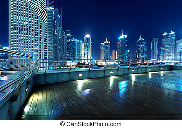 Cities of skyscrapers at night - Shanghai, China, city...