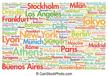 Cities of the world, travel destinations word cloud concept