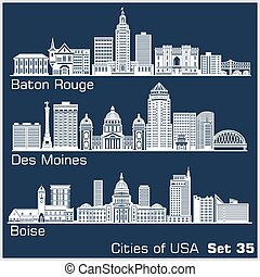 Cities of USA - Baton Rouge, Des Moines, Boise. Detailed ...