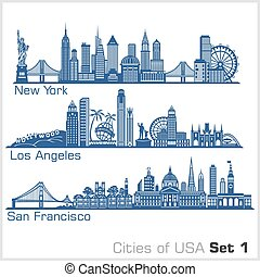 Cities of USA - New York, Los Angeles, San Francisco. Detailed architecture. Trendy vector illustration, line art style. Isolated on white background.