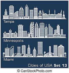 Cities of USA - Tampa, Minneapolis, Miami,. Detailed architecture. Trendy vector illustration.