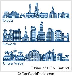 Cities of USA - Toledo, Newark, Chula Vista. Detailed ...
