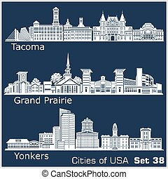 Cities of USA - Yonkers, Grand Prairie, Tacoma. Detailed architecture. Trendy vector illustration.