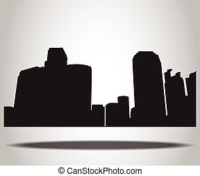 Cities Silhouettes on the white background