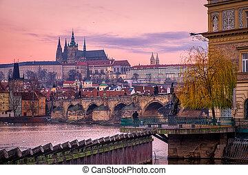 Citiscape view of Prague castle and Charles bridge at sunrise, Prague, Czech Republic