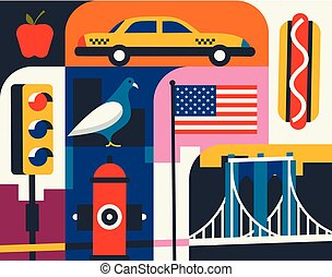Citiy skyline set. Flat landscape vector illustration. New York silhouette with landmarks.