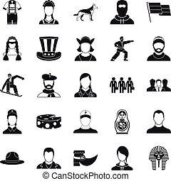 Citizen icons set, simple style