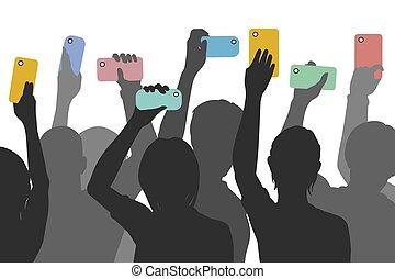 Citizen smartphone journalism - Editable vector silhouettes...