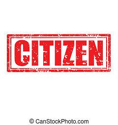 Citizen-stamp - Grunge rubber stamp with word Citizen, ...