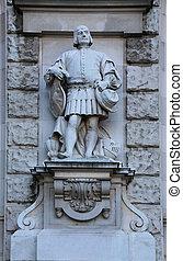 Citizen Statue Neue Burg Vienna - Citizen Statue, a facade...
