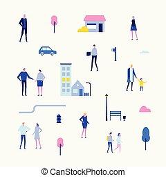 Citizens - flat design style set of isolated elements