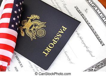 Citizenship documents - Immigration concept, US passport and...