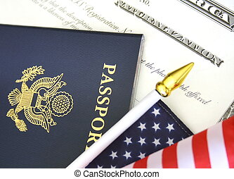 Citizenship - Immigration concept, US passport and flag over...