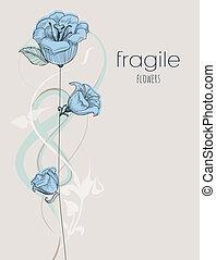 citlivý, květiny, grafické pozadí