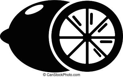 citrón, ikona, jednoduchý, čerň, móda