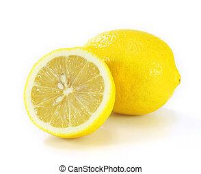 citroen, achtergrond, vrijstaand, witte