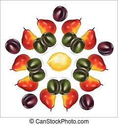citroen, frame, centrum, paarse , peren, groene, circulaire, pruimen