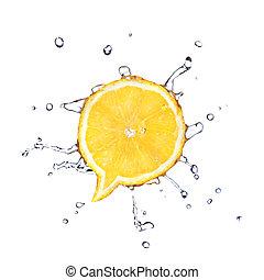 citroen, in vorm, van, dialoog, doosje, met, waterdruppels,...