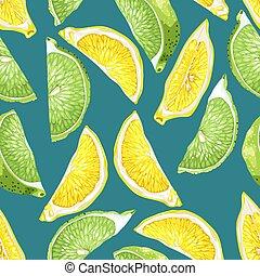 citroen snijdt, citrus, model, boompje, seamless, vruchten, kalk