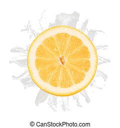 citroen, vrijstaand, afgesnijdenene, gespetter, achtergrond, witte , melk