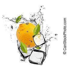 citroen, vrijstaand, ijs, achtergrond, blokje, witte