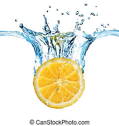 citroen, vrijstaand, water, gespetter, gevallen, fris, witte...