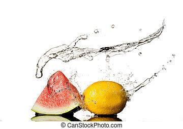 citroen, vrijstaand, water, gespetter, watermeloen, achtergrond, witte