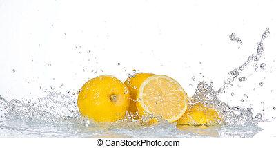 citroen, water, gespetter, vrijstaand, witte