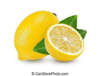 citroen, witte , blad, vrijstaand, achtergrond