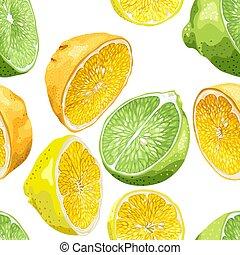 citroen, zoals, citrus, model, boompje, seamless, sinaasappel, zaden, vruchten, kalk