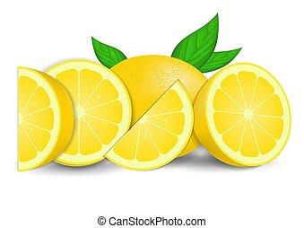 citroenen, realistisch, fris, vrijstaand, witte , bladeren