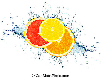 citrom- és narancsfélék, víz, loccsanás