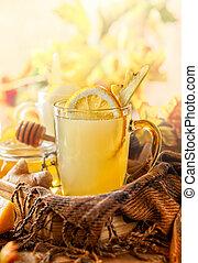 citrom, és, vöröses sárga, tea, noha, méz
