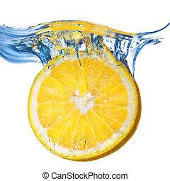 citrom, elszigetelt, víz, loccsanás, csöpögött, friss, fehér